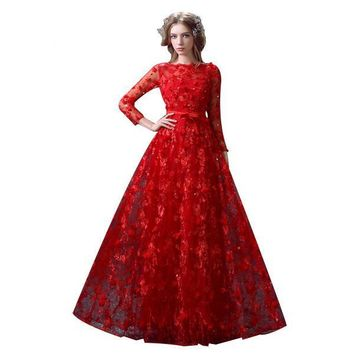 Luxury Red Long Evening Dress Lace Flower Long Sleeved Prom Dress Banquet Elegant Princess Party Gowns
