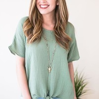 One Lucky Tie Front Top - Sage