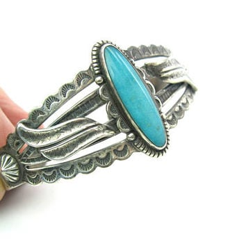 Turquoise Cuff Bracelet Navajo Bell Trading Post Stamped Sterling Silver Arrow Morning Star Vintage 1960s Native American Tourist Jewelry