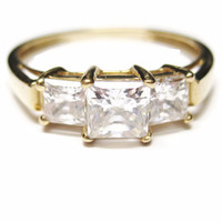 14K 3 Stone Princess Cut 1.5 Carat CZ Ring Sz 9.5