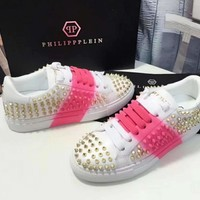 Summer 2018 new philipp plein candy color blooming casual shoes rivet shoes