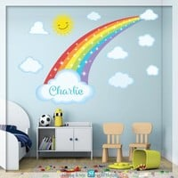 Rainbow wall decal with stars - Rainbow sticker, Pastel rainbow wall decal - Nursery wall decal - Rainbow and Clouds decal