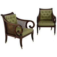 1STDIBS.COM - Kentshire Galleries Ltd. - A Pair of Regency Mahogany Cane-Filled Bergeres