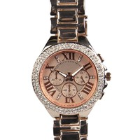 Rose Diamante Face Boyfriend Watch