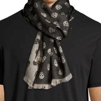 Woven Skull Scarf, Black/Ivory, Size: 30, BLACK/IVORY - Alexander McQueen