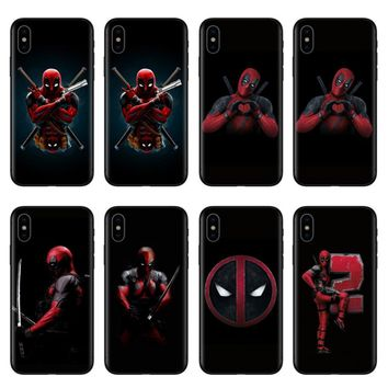FUNNYRUI  Soft silicone Phone Case Cover For iPhone X 10 8 8Plus 7 7Plus 6 6S Plus 5 5S SE Super Cool Marvel Deadpool Super Hero