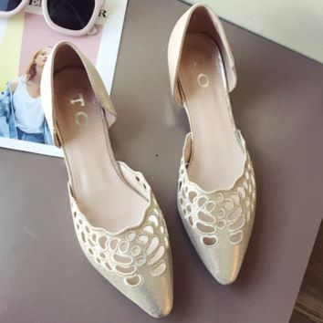 New style embroidery hollow pointed low heel double side empty women's shoes