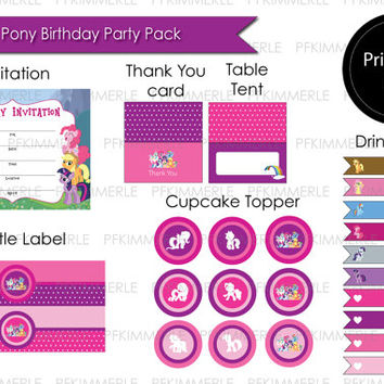 My Little Pony Themed Birthday Party Pack (Pink & Purple)