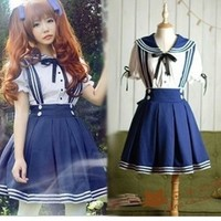 Cosplay Japanese navy sailor  waist strap dress student clothing uniforms cute