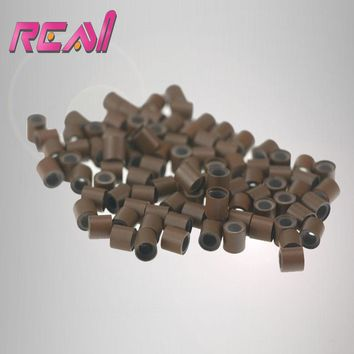 4.5mm 1000pcs Silicone lined Copper Micro Rings Tube Beads Links for Feather Hair Extensions Accessories Black  Brown Blonde