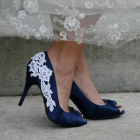 Navy Blue Wedding Shoes With Venise Lace Applique by walkinonair
