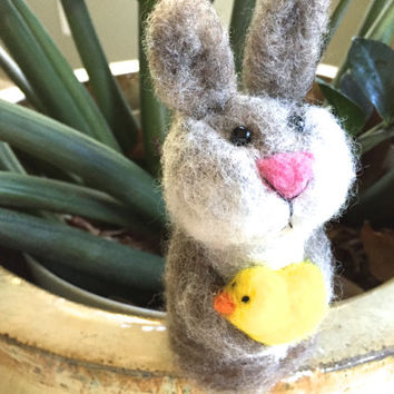 Easter Bunny easter decor easter rabbit home decor primitive bunny faap primitive rabbit spring gift for her primitive easter needle felted