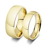 Gold-Color Wedding Ring for Lover Highly Polished Stainless Steel Couple Ring 6mm & 8mm Width Ring for Women and  Men