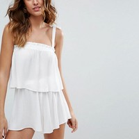 ASOS Beach Co-ord With Tie Shoulders and Frill Edge at asos.com
