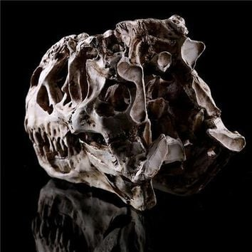 Skull Skulls Halloween Fall Newest Tyrannosaurus Rex dinosaur Resin Fossil  Model Collectibles light color Size:15*11.5*8cm Calavera