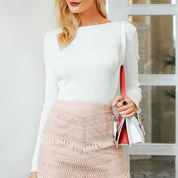 On The West Side Faux Suede Embroidery Tassel Bodycon Mini Skirt - 2 Colors Available