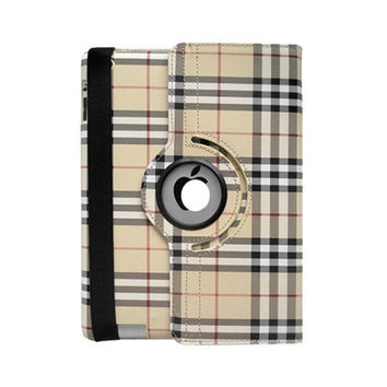 IPad 4 3 2 Cover Luxury Grid Pattern 360 Smart Rotating PU Leather Case ipad 4 ipad 3 ipad 2 - Yellow Line