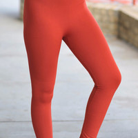 Rust Fleece Lined Leggings