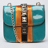 The Jill Patent and Satin Trim Chain Bag in Teal