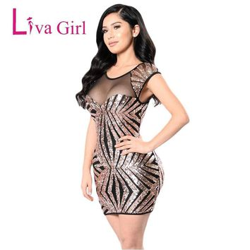 LIVA GIRL Sexy Mesh Gold Sequin Dress Women Striped Sleeveless Open Back Hollow Out Night Club Bodycon Party Mini Dresses XXL
