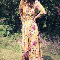 "the ""Charlie"" Mustard Floral Wrap Maxi Dress"