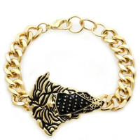 Gold & Black MEDUSA BANDIT Head Medallion Statement BRACELET Link Chain VTG