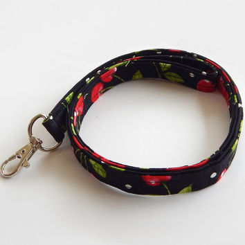 Cherry Lanyard / Cherries / Cherry Keychain / Black & Red / Fruit / Key Lanyard / ID Badge Holder / Cute Lanyards