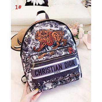 DIOR New fashion letter print multicolor retro high quality backpack bag women 1#