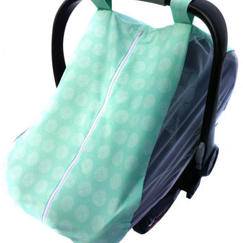 Fitted cotton car seat cover for spring/summer - Mint dot fitted infant carseat canopy - Mosquito net baby carseat cover