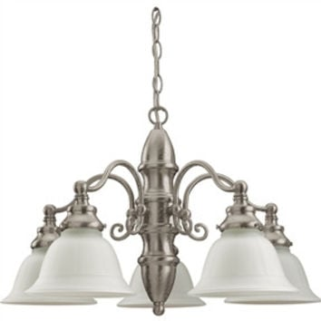 5-Light Canterbury Chandelier with Etched Glass Shades
