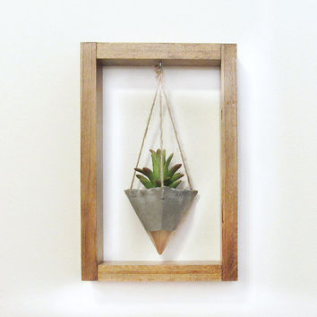 Air Planter, Wall Planter, Concrete Planter, Succulent Planter, Modern Planter, Wood Planter, Air Plant Holder, Gold Planter, Shadow Box