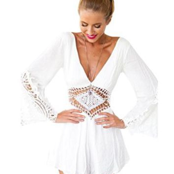 Kranda Summer White Lace Stitching V-neck Shorts Playsuit Rompers Jumpsuit