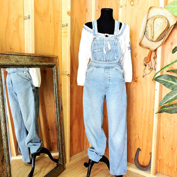 90s  London London overalls / size S / 90s grunge / womens light wash bib overalls / over all jeans / gravelstreetvintage