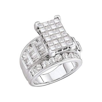 14kt White Gold Women's Princess Diamond Cluster Bridal Wedding Engagement Ring 3.00 Cttw - FREE Shipping (US/CAN) - Size 9