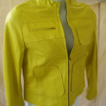 Additional 20% Off Leather Jacket // Coat // Women's Size L Neon Lemon Lime Green By Josephine