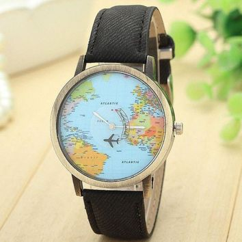 New Global Travel By Plane Map Wrist Watch Fabric Band | Black