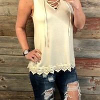 Long Time Love Crochet Tank: Ivory