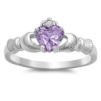 Sterling Silver Lavender CZ Claddagh Ring