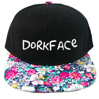 Dorkface Fresh Snapback Hat in Black & Floral