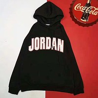 NIKE Autumn And Winter New Fashion Bust Letter Print And Back Print Women Men High Quality Hooded Long Sleeve Sweater Black