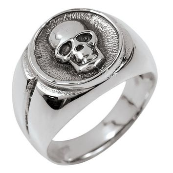 ICIKIS3 Skull Signet Sterling Silver Ring
