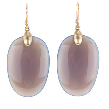 Ted Muehling Grey Agate Large Chip Earrings