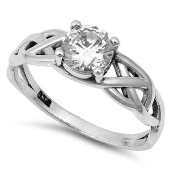 Solitaire Engagement Ring Celtic Knot Band in Sterling Silver Size 4-10