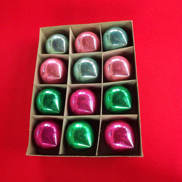Vintage Shiny Brite Balls, Aqua, Pink, & Green Pointed Ornaments, Set of 12 Large Glass Christmas Tree Balls