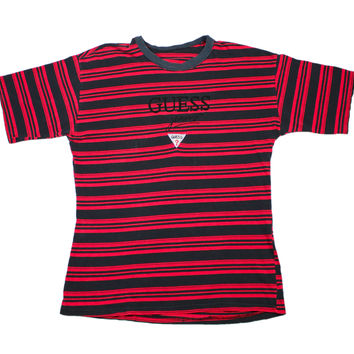 Vintage 90s GUESS Striped T-Shirt in Red/Black Mens Size Large