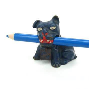Hubley Bulldog Figure. Cast Iron Dog, Blue Paint. 1933 Chicago Worlds Fair. Pencil Holder Paperweight. Vintage 1930s Souvenir Collectible.