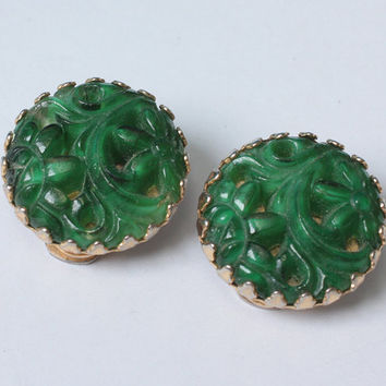 Napier Faux Jade Earrings Carved Glass Mandarin Fantasies Floral Design Clip On Vintage