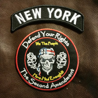 NEW YORK  Defend Your Rights Small Badge Set for Biker Vest