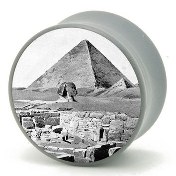 0g (8mm) Pyramid in Egypt Power Plugs by BMA Pair