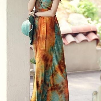 Tie-dye Braided collar maxi dress for the grounded Beauty